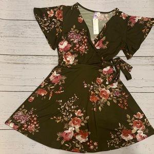 Floral Dress in Olive